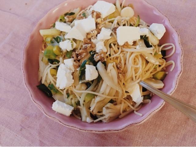 Pasta med grönt (spenat, purjolök, fänkål)